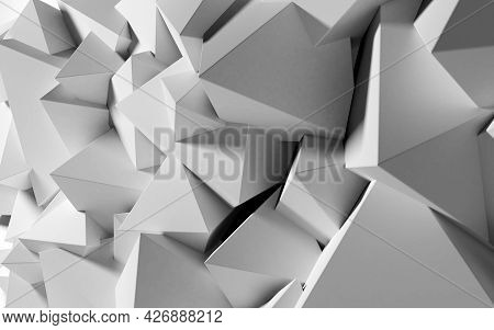 Abstract Background With White 3d Shapes Flying In The Light As A Messy Array Or Chaotic Structure F