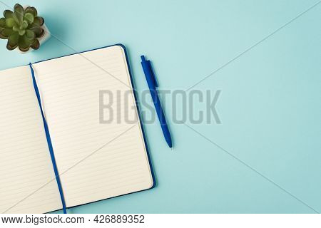Top View Photo Of Open Blue Planner Pen And Flowerpot On Isolated Pastel Blue Background With Copysp