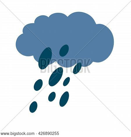 Cloud With Rain. Rainy Weather. Cloudy Sky Silhouette With Raindrops. Weather Forecast.  Vector Illu
