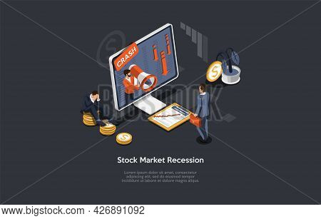 Isometric Vector Illustration In Cartoon 3d Style. Composition On Dark Background, Infographics. Sto