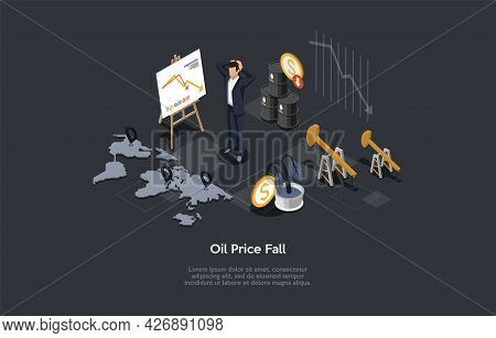 Conceptual Illustration With Text. Isometric Vector Composition. Cartoon 3d Style Design. Oil Price