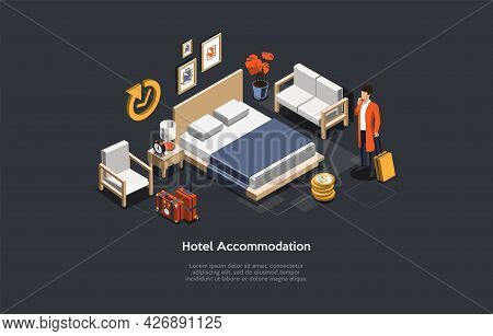 Vector Illustration, Hotel Accommodation Concept. Isometric 3d Composition, Cartoon Style. Daily Ren