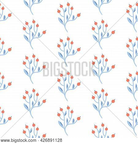 Scandinavian Floral Seamless Pattern Nordic Folk Background