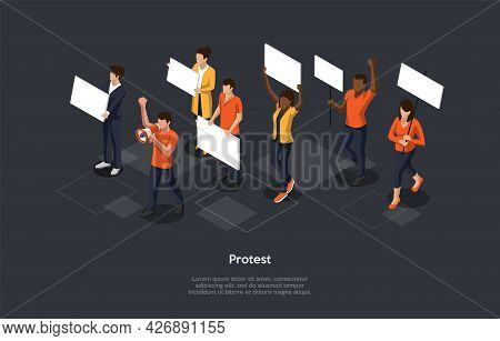 Isometric Composition On Dark Background. Vector 3d Illustration In Cartoon Style. Protest Concept.