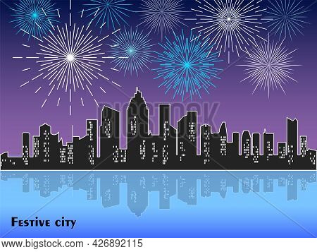 Festive Fireworks Display Over The Night City With Reflection In Water. Vector Illustration Of A Cit