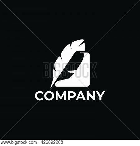 Copywriter Feather Logo Company Ready To Use. Logo Design Vector Template. Modern Logo Concept.