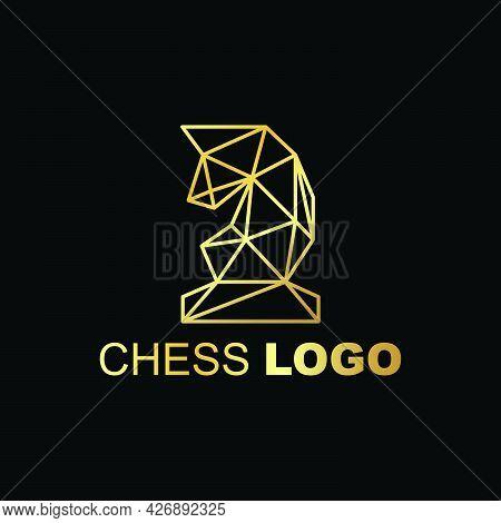 Golden Triangular Knight Horse Logo Company Ready To Use. Logo Design Vector Template. Modern Logo C