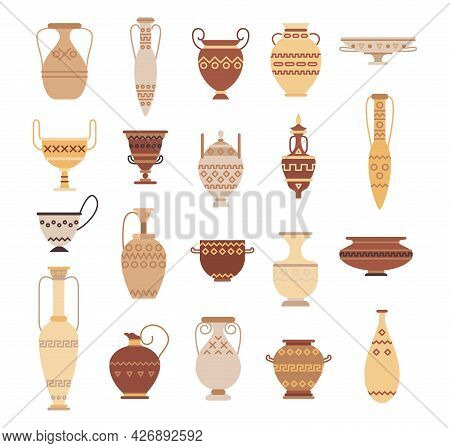 Set Of Ancient Greek Pottery Isolated On White Background - Collection Of Clay Pots, Vases And Ampho