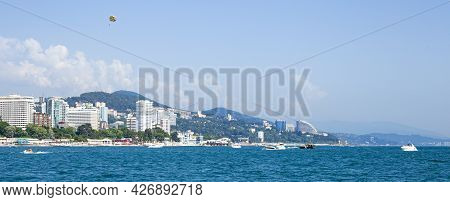 Panorama Of The City Of Sochi, View From The Sea, Banner For Website. Sochi, 08.07.2021