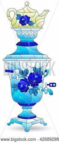 Illustration In The Style Of A Stained Glass Window With A Russian Traditional Teapot, Dishes Isolat