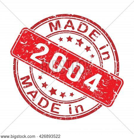 Imprint Of A Seal Or Stamp With The Inscription Made In 2004. Editable Vector Illustration. Label, S