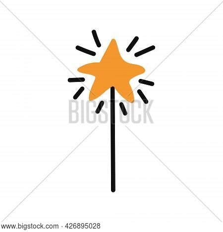 A Magic Wand In The Shape Of A Star. Vector Flat Illustration On A White Background. Halloween Decor