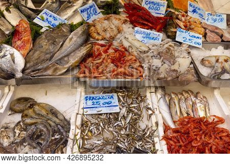 Naples, Italy - June 27, 2021: Fish Market Stall In The City Center Street, Fresh Seafood