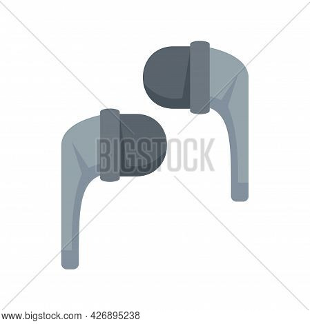Stereo Wireless Earbuds Icon. Flat Illustration Of Stereo Wireless Earbuds Vector Icon Isolated On W