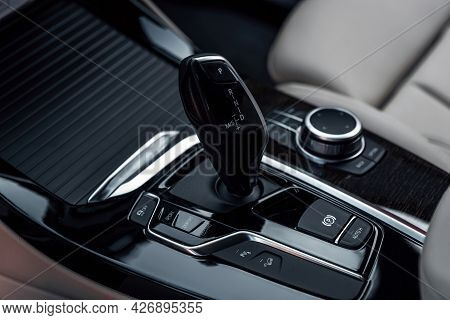 Cockpit Interior Cabin Details. Automatic Gear Shifter In A Modern Expensive Car. Car Interior With