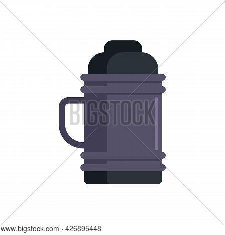 Metal Vacuum Bottle Icon. Flat Illustration Of Metal Vacuum Bottle Vector Icon Isolated On White Bac