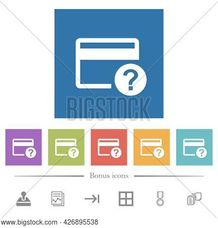 Unknown Credit Card Flat White Icons In Square Backgrounds. 6 Bonus Icons Included.