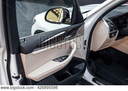 Drivers Open Car Door Close Up. Control Panel On Drivers Door. Selective Focus.