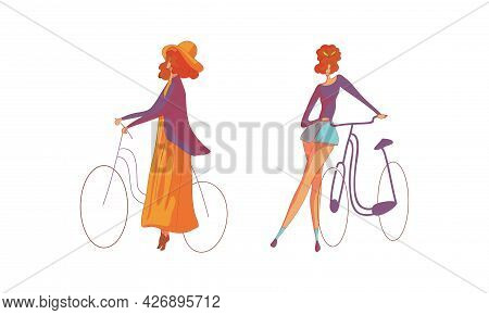Young Energetic Woman Standing Near Bicycle Vector Set