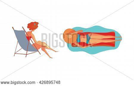 Energetic Woman Lying On Inflatable Lounge And Sunbathing On Sea Shore Vector Set