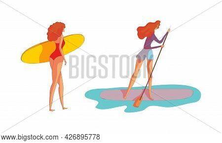 Slender Woman In Swimsuit With Surfboard On Beach And Oaring Vector Set