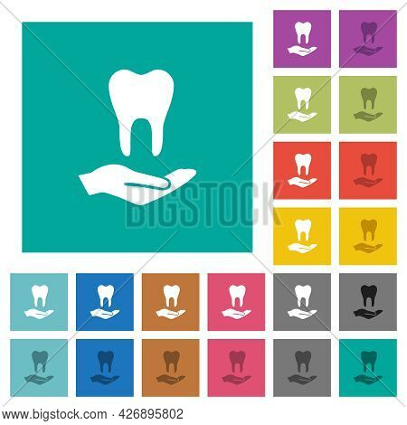 Dental Provision Multi Colored Flat Icons On Plain Square Backgrounds. Included White And Darker Ico