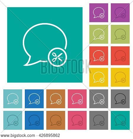 Cut Message Multi Colored Flat Icons On Plain Square Backgrounds. Included White And Darker Icon Var