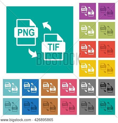 Png Tif File Conversion Multi Colored Flat Icons On Plain Square Backgrounds. Included White And Dar