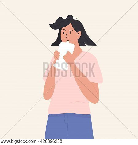 A Female Person Undergoing Medical Genose C19 Rapid Test. Patient Exhale Into A Plastic Bag. Coronav
