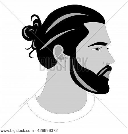 Vector Hipster Man Bearded Face Side View. The Logo Of A Man With A Beard. Vector Illustration
