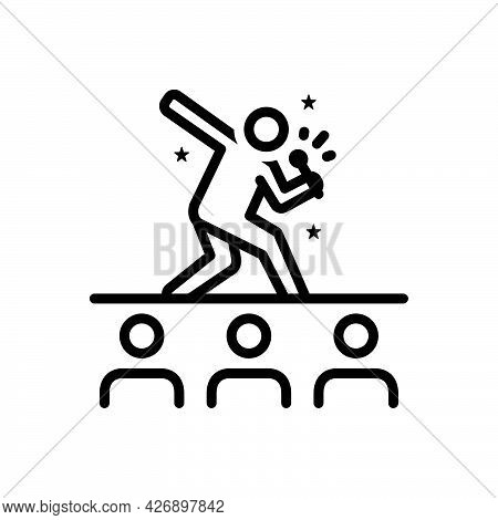 Black Line Icon For Perform Enact Show Audience Actor Cheerful Entertainment Performers Sing