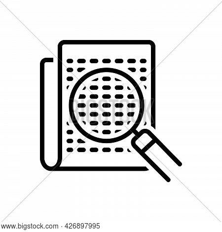 Black Line Icon For Micro Mini Little Small Bionomics Magnifying-glass
