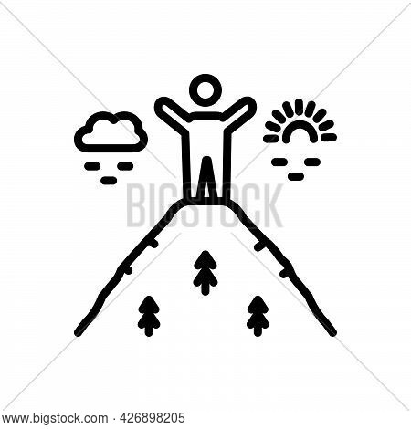 Black Line Icon For Somehow By-some-means Anyway Anyhow At-any-rate Peak Hill Nature