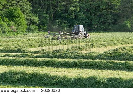 Agriculture, Agriculture - Mowing The Meadow. Large Tractor Rakes For Dry Hay. A Farmer With A Moder