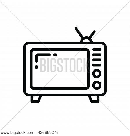 Black Line Icon For Television Tv Vintage Antenna Vintage Entertainment Broadcast Electronics Analog