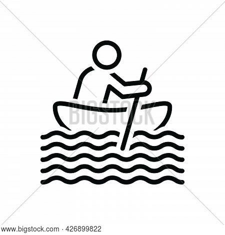 Black Line Icon For Boating Paddle Sailing Yachting Seafaring Nautical