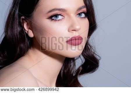 Woman With Beauty Face, Facial Portrait. Beautiful Tender Sensual Young Girl. Fashion Model Isolated