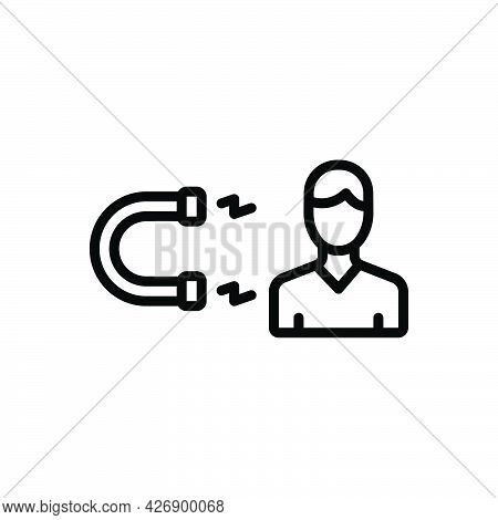 Black Line Icon For Interested Magnet Attract Electromagnet Force Businessman