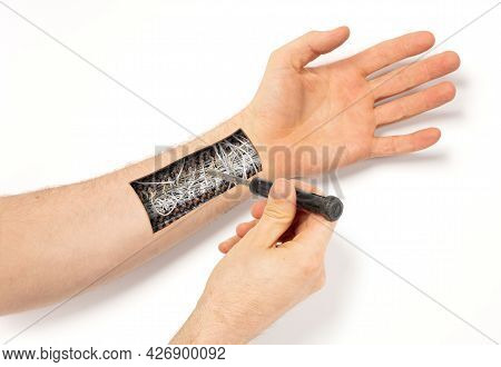 Robot Hand Inside Human Hand - Prosthesis Concept, Repairing, Isolated On White