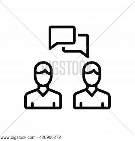 Black Line Icon For Talk Chat Dialogue Speak Person Bubble Conversation Quote