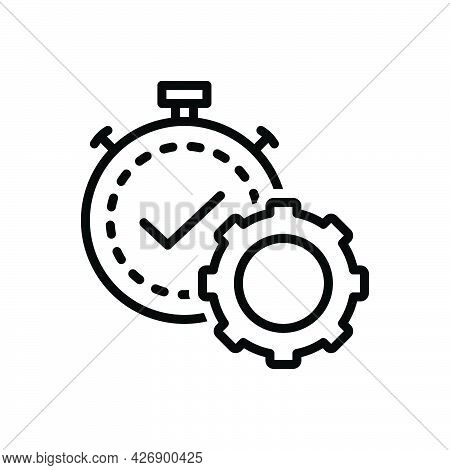 Black Line Icon For Productivity Strategy Performance Cogwheel Process  Gear