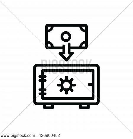 Black Line Icon For Deposit Investment Cash Locker Finance Currency Moneybox