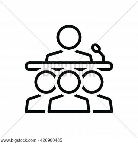 Black Line Icon For Seminar Conference Lecture Demonstration Presentation Instructor Audience