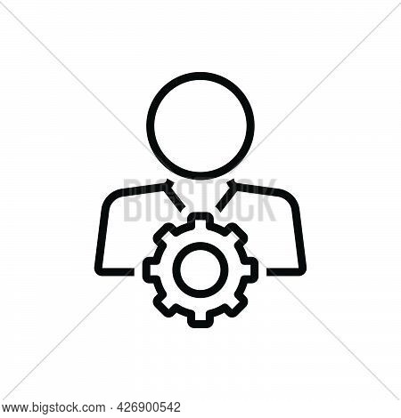 Black Line Icon For Competent Capable Adequate Efficient Skilled Experience Development