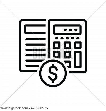 Black Line Icon For Estimates Calculation Editable Document Banking Arithmetic