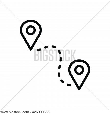 Black Line Icon For Mile Location Tracking Pointer Route Aviation Map