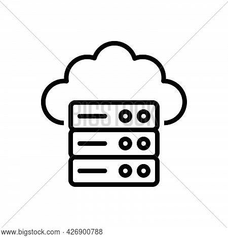 Black Line Icon For Hosting Database Center Software Server Web-hosting Internet