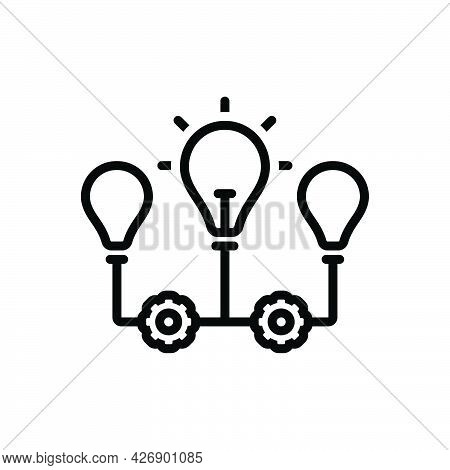 Black Line Icon For Implications Conclusion Indication Inference Suggestion Bulb
