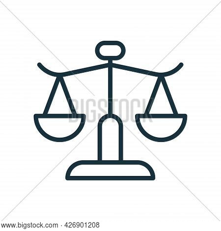 Balance Weight Scales Linear Icon. Civil Rights Icon. Law Scale Line Pictogram. Symbol Of Judgment A
