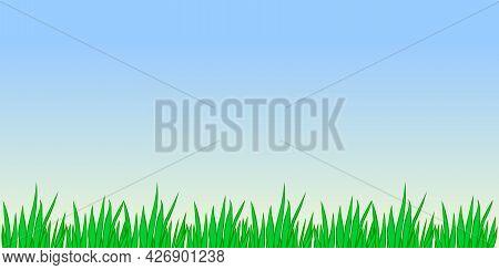 Vector Outline Green Grass Isolated On Blue Sky Background. Herbal Border, Horizontal Bottom Edging,